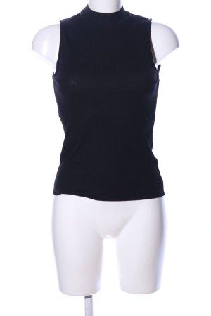 Amisu Top con colletto arrotolato nero stile casual