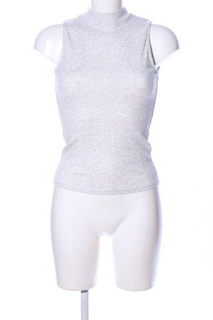 Amisu Top con colletto arrotolato grigio chiaro puntinato stile casual