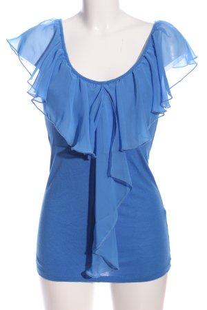 Amisu Rüschen-Bluse blau extravaganter Stil