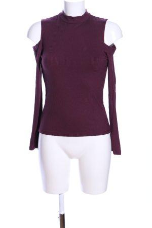 Amisu Kraagloze sweater lila casual uitstraling