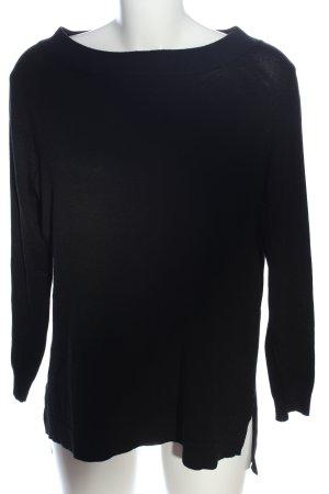 Amisu Rundhalspullover schwarz Casual-Look