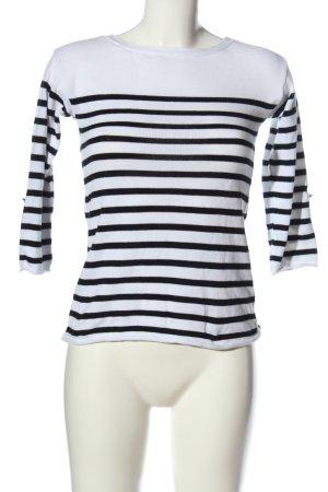 Amisu Rundhalspullover weiß-schwarz Streifenmuster Casual-Look