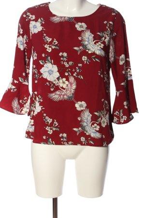 Amisu Schlupf-Bluse rot-wollweiß abstraktes Muster Casual-Look