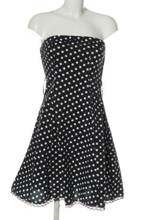 Amisu schulterfreies Kleid schwarz-weiß Allover-Druck Casual-Look