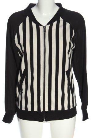 Amisu Shirtjacke weiß-schwarz Streifenmuster Casual-Look