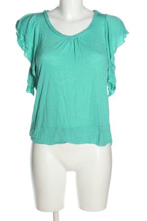 Amisu Shirt Tunic turquoise cable stitch casual look
