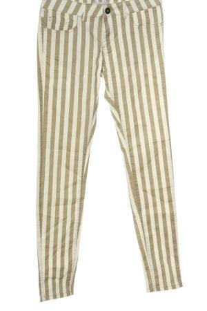 Amisu Skinny Jeans khaki-wollweiß Streifenmuster Casual-Look