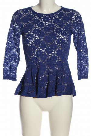 Amisu Lace Blouse blue flower pattern casual look