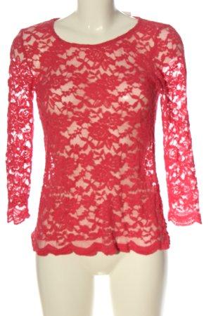 Amisu Koronkowa bluzka czerwony W stylu casual