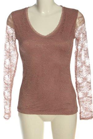 Amisu Koronkowa bluzka różowy W stylu casual