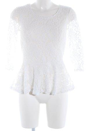 Amisu Blusa de encaje blanco estampado floral elegante