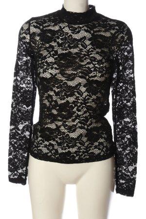 Amisu Kanten blouse zwart casual uitstraling