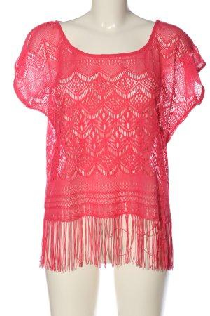 Amisu Kanten blouse rood casual uitstraling