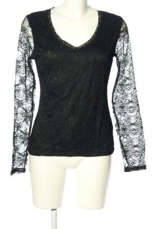 Amisu Blusa de encaje negro estilo extravagante