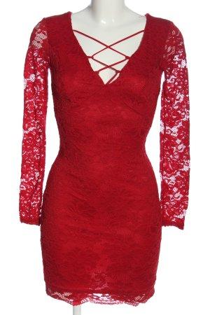Amisu Kanten jurk rood Webpatroon elegant