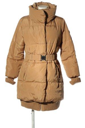 Amisu Pikowany płaszcz brązowy Pikowany wzór W stylu casual