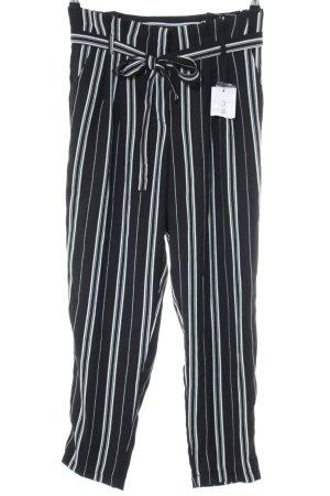 Amisu Stoffhose schwarz-weiß Streifenmuster Casual-Look