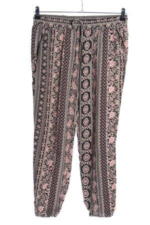 Amisu Stoffhose braun-pink Allover-Druck Casual-Look