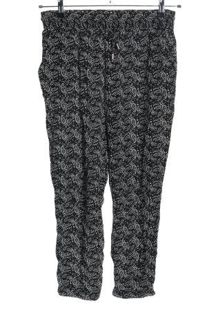 Amisu Stoffhose weiß-schwarz abstraktes Muster Casual-Look