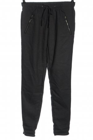 Amisu Pantalone jersey nero puntinato stile casual