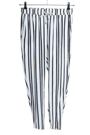 Amisu Stoffhose weiß-schwarz Streifenmuster Casual-Look