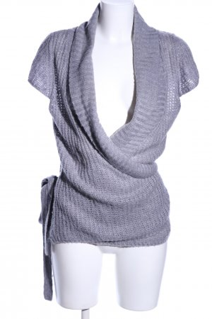 Amisu Knitted Cardigan light grey cable stitch casual look