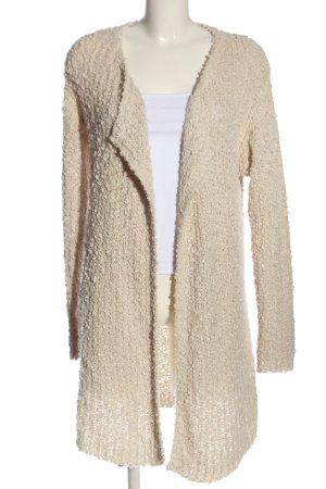 Amisu Cardigan in maglia crema punto treccia stile casual