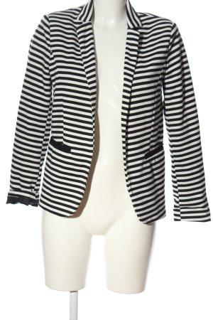 Amisu Strickblazer weiß-schwarz Streifenmuster Casual-Look