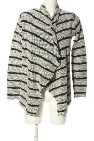 Amisu Strickjacke weiß-schwarz Streifenmuster Casual-Look