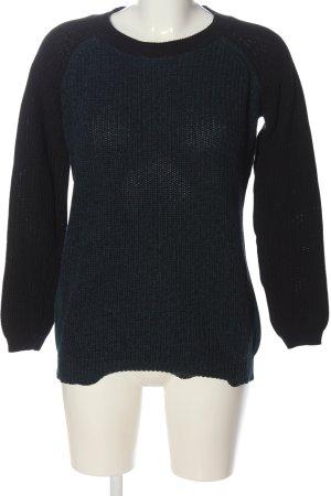 Amisu Pull tricoté bleu-noir moucheté style décontracté