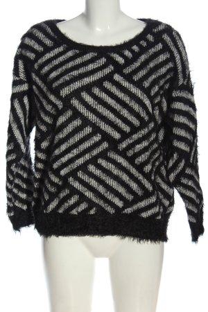 Amisu Strickpullover schwarz-weiß Streifenmuster Casual-Look