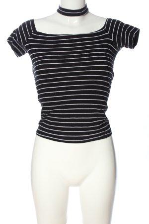 Amisu Strickshirt schwarz-weiß Allover-Druck Casual-Look
