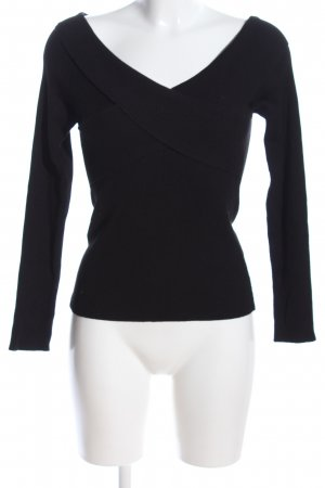 Amisu Gebreid shirt zwart casual uitstraling