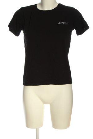 Amisu Strickshirt schwarz Schriftzug gestickt Casual-Look