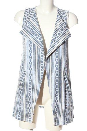 Amisu Strickweste blau-weiß Allover-Druck Casual-Look