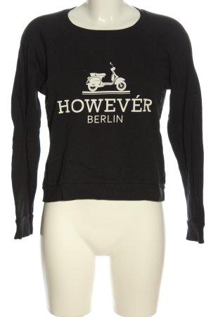 Amisu Sweatshirt schwarz-weiß Schriftzug gedruckt Casual-Look