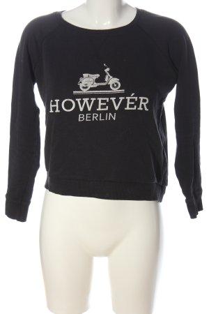 Amisu Sweatshirt schwarz Motivdruck Casual-Look