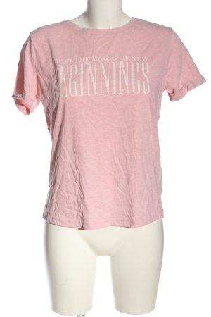 Amisu T-Shirt pink Schriftzug gedruckt Casual-Look