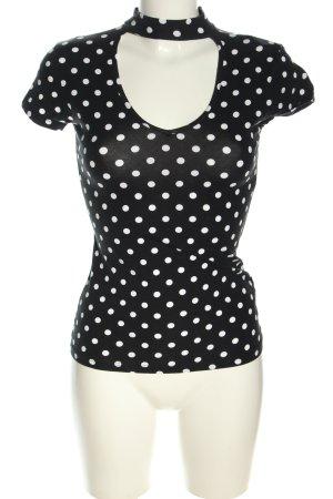 Amisu T-Shirt schwarz-weiß Punktemuster Casual-Look