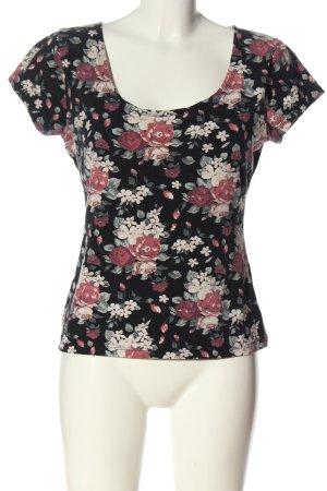 Amisu T-Shirt schwarz-pink Allover-Druck Casual-Look