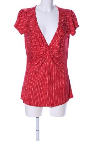 Amisu T-Shirt rot-wollweiß Punktemuster Casual-Look