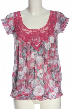 Amisu T-Shirt Blumenmuster Casual-Look