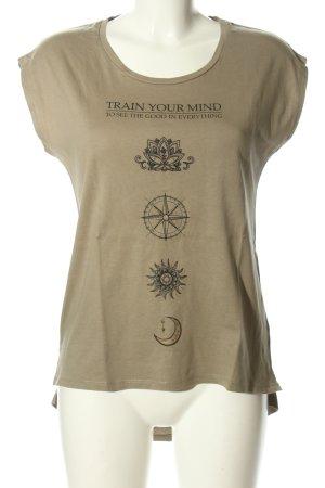Amisu T-Shirt khaki-schwarz Motivdruck Casual-Look