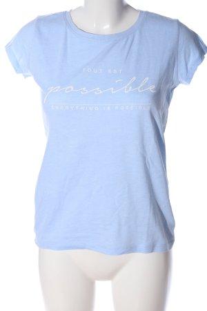 Amisu Camiseta azul-blanco letras impresas look casual