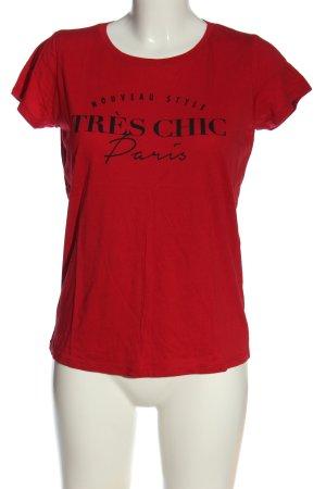 Amisu Camiseta rojo-negro letras impresas look casual