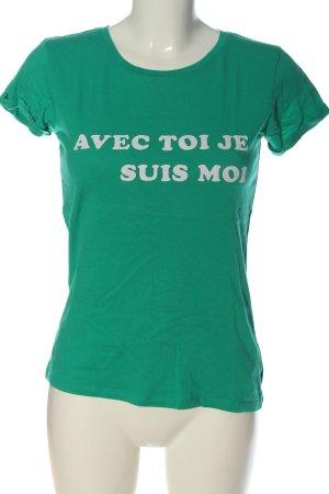 Amisu Camiseta verde letras impresas look casual