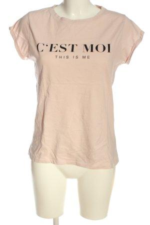 Amisu T-Shirt nude-schwarz Schriftzug gedruckt Casual-Look