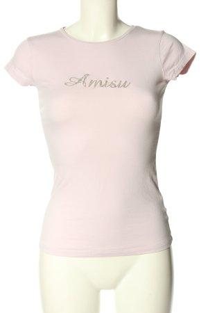 Amisu T-Shirt pink-goldfarben Schriftzug gedruckt Casual-Look