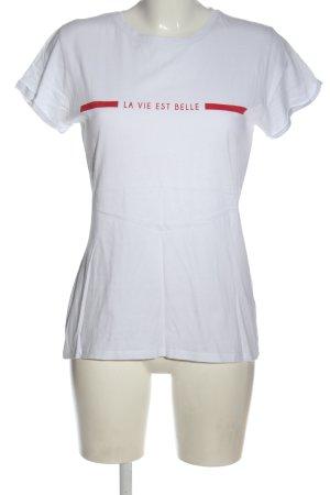 Amisu T-Shirt weiß-rot Schriftzug gedruckt Casual-Look