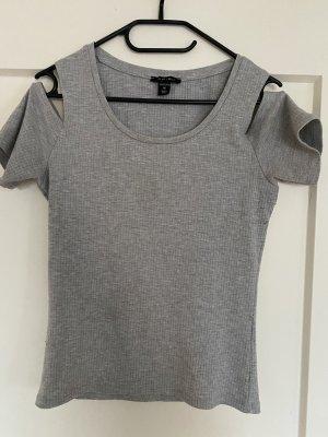 Amisu T-shirt rayé gris clair-gris